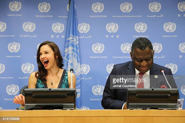 Actress/activist Ashley Judd and UNFP Executive Director Dr Babatunde Osotimehin attend a press conference held to announce her appointment as The UN...