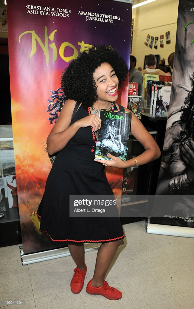 Actress/author Amandla Stenberg? at Amandla Stenberg's Launch Party For 'Niobe: She Is Life' held at Hi De Ho Comics And Books on November 7, 2015 in Santa Monica, California.