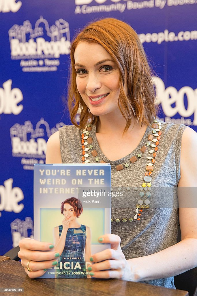 Actress/author Felicia Day signs copies of her new book 'You're Never Weird On The Internet(Almost)' at Book People on August 15, 2015 in Austin, Texas.