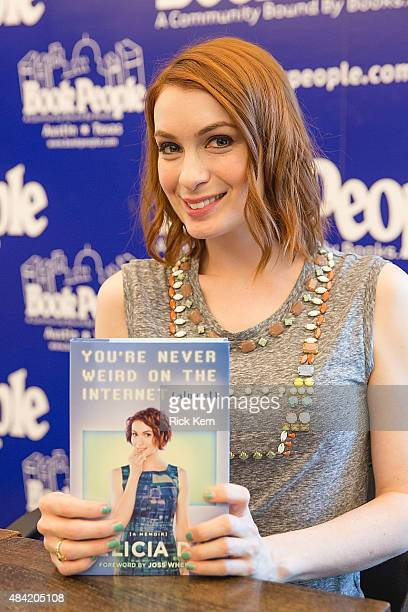 Actress/author Felicia Day signs copies of her new book 'You're Never Weird On The Internet' at Book People on August 15 2015 in Austin Texas