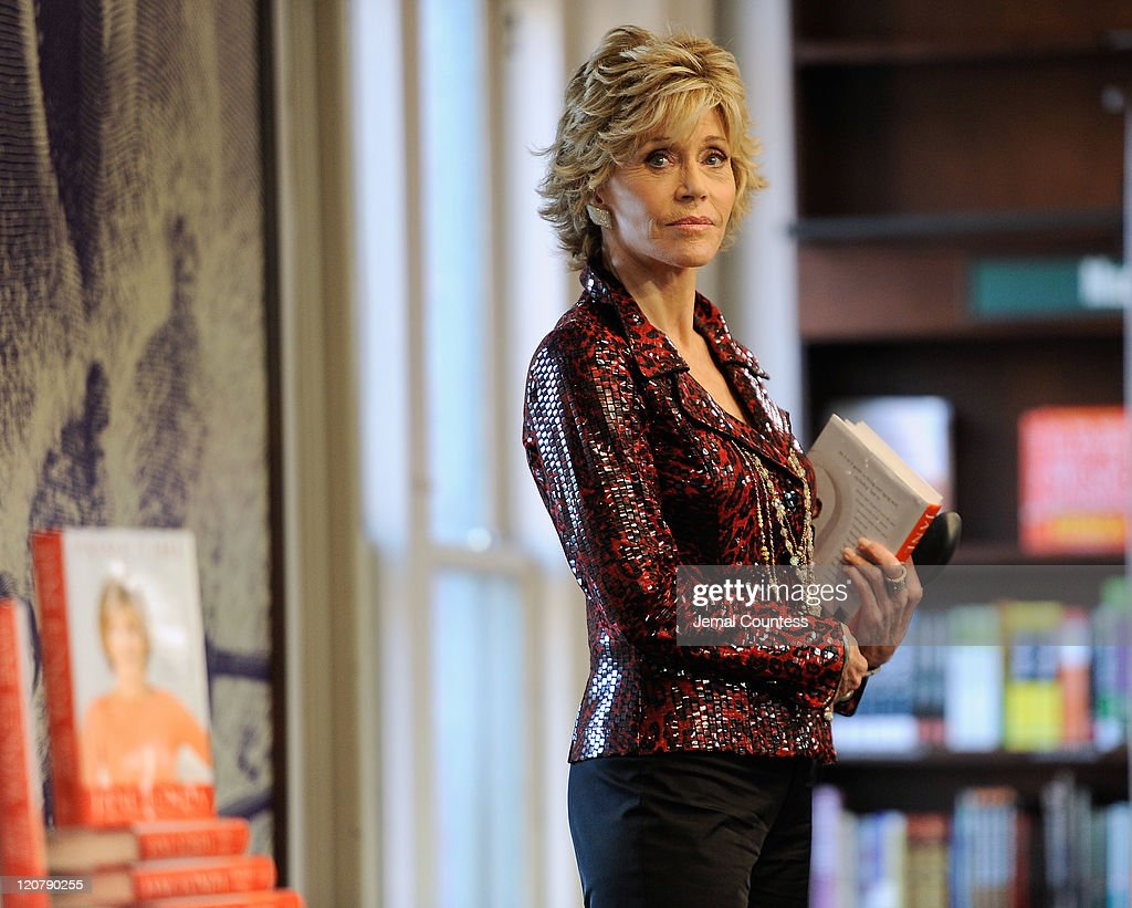 Actress/author <a gi-track='captionPersonalityLinkClicked' href=/galleries/search?phrase=Jane+Fonda&family=editorial&specificpeople=202174 ng-click='$event.stopPropagation()'>Jane Fonda</a> waits to speak as she promotes 'Prime Time: Making The Most Of All Of Your Life' at Barnes & Noble Union Square on August 10, 2011 in New York City.