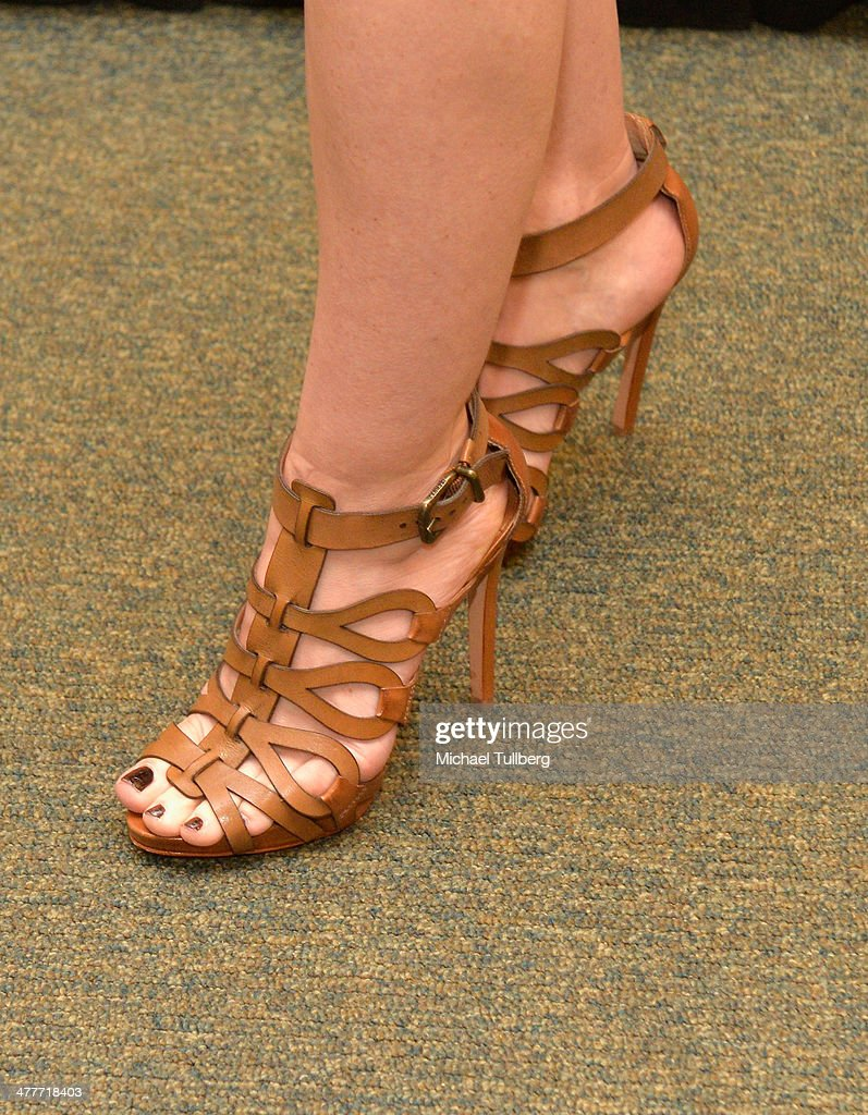 Actress/author <a gi-track='captionPersonalityLinkClicked' href=/galleries/search?phrase=Jennie+Garth&family=editorial&specificpeople=210841 ng-click='$event.stopPropagation()'>Jennie Garth</a> (shoe detail) attends a signing event for her new book 'Deep Thoughts From A Hollywood Blonde' at Barnes & Noble bookstore at The Grove on March 10, 2014 in Los Angeles, California.