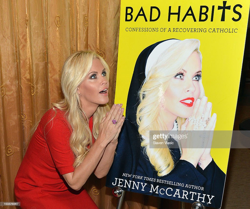 Actress/Author <a gi-track='captionPersonalityLinkClicked' href=/galleries/search?phrase=Jenny+McCarthy&family=editorial&specificpeople=202900 ng-click='$event.stopPropagation()'>Jenny McCarthy</a> promotes 'Bad Habits: Confessions Of A Recovering Catholic' at The Hilton Hotel on October 3, 2012 in New York City.