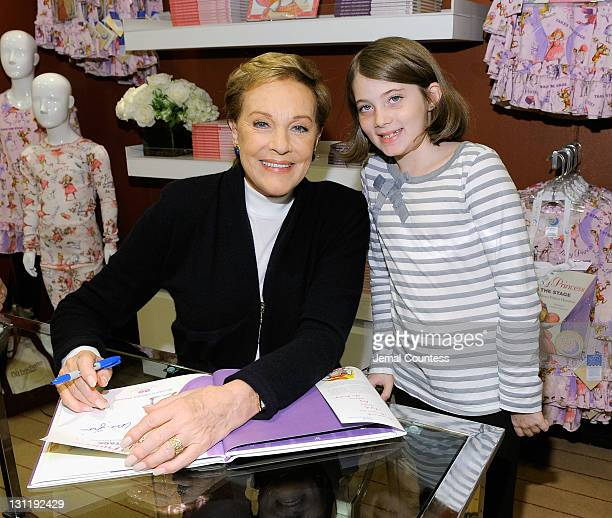 Actress/author Julie Andrews and Maya Eisenberg pose for a photo as Julie Andrews signs copies of her latest childrens books 'The Very Fairy...