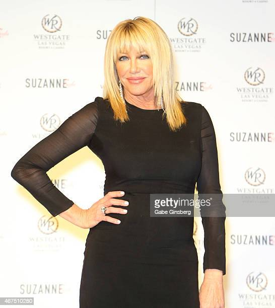 Actress/author Suzanne Somers poses on stage during a news conference announcing her residency 'Suzanne Sizzles' at the Westgate Las Vegas Resort...