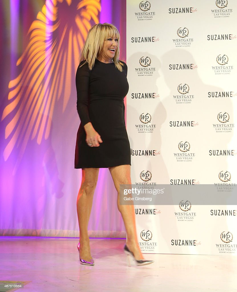 Actress/author Suzanne Somers walks on stage during a news conference announcing her residency 'Suzanne Sizzles' at the Westgate Las Vegas Resort...