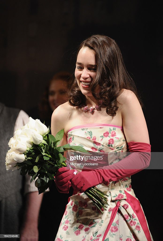 Actress/cast member Emilia Clarke takes part in the 'Breakfast At Tiffany's' Broadway Opening Night at Cort Theatre on March 20, 2013 in New York City.