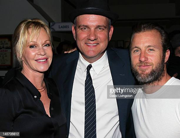 Actress/cast member Melanie Griffith actor/play producer Mike O'Malley and actor/playwright Scott Caan pose at the opening night of 'No Way Around...