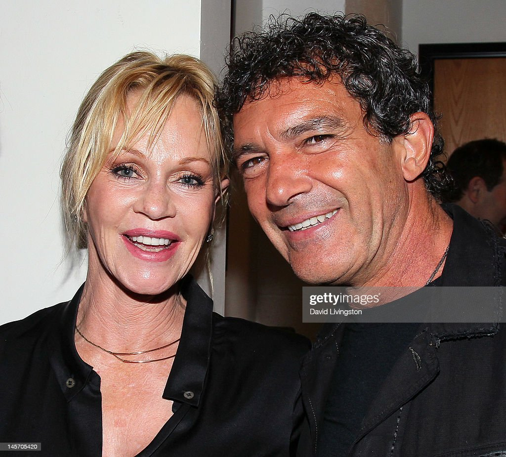 Actress/cast member Melanie Griffith and husband actor Antonio Banderas pose at the opening night of 'No Way Around But Through' at the Falcon...