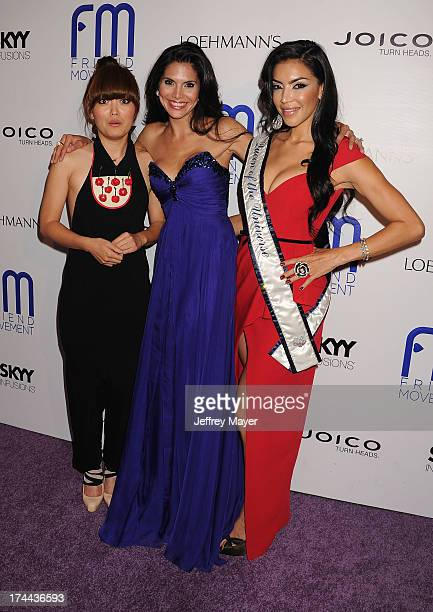 Actress/comedian Hana Mae Lee model Joyce Giraud and Queen of the Universe Ivette Saucedo attend the Friend Movement AntiBullying Benefit Concert at...