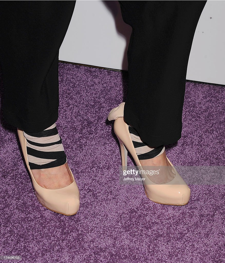 Actress/comedian Hana Mae Lee (shoe detail) the Friend Movement Anti-Bullying Benefit Concert at the El Rey Theatre on July 1, 2013 in Los Angeles, California.