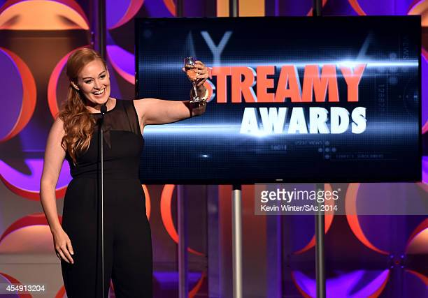 Actress/comedian Mamrie Hart speaks onstage during the 4th Annual Streamy Awards presented by CocaCola on September 7 2014 in Beverly Hills California