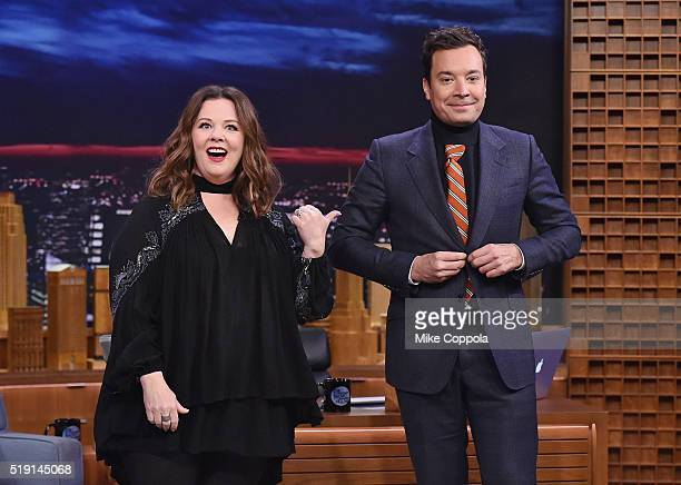 Actress/comedian Melissa McCarthy and host Jimmy Fallon pose for a picture as she visits 'The Tonight Show Starring Jimmy Fallon' at NBC Studios on...