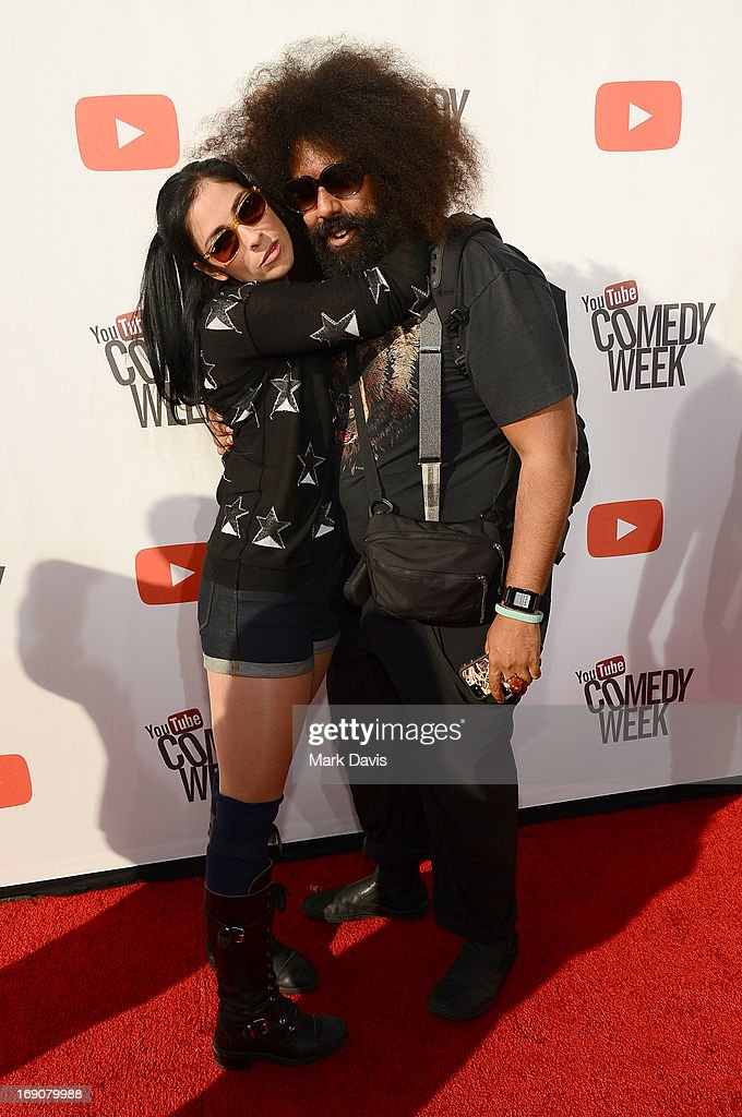 Actress/comedian Sarah Silverman and Reggie Watts attend 'The Big Live Comedy Show' presented by YouTube Comedy Week held at Culver Studios on May 19, 2013 in Culver City, California.
