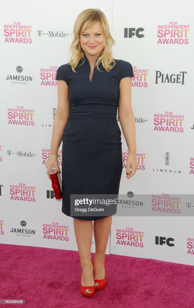 Actress/comedienne Amy Poehler arrives at the 2013 Film Independent Spirit Awards at Santa Monica Beach on February 23, 2013 in Santa Monica, California.