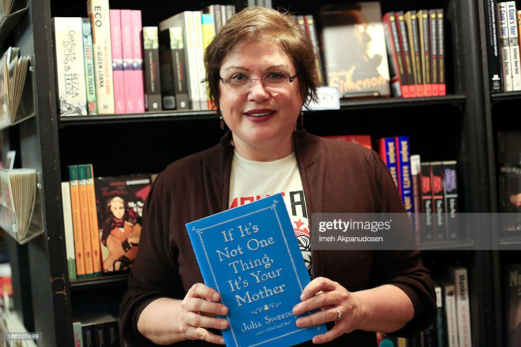 Actress/comedienne Julia Sweeney poses before signing copies of her new book 'If It's Not One Thing, It's Your Mother' at Book Soup on April 8, 2013 in West Hollywood, California.