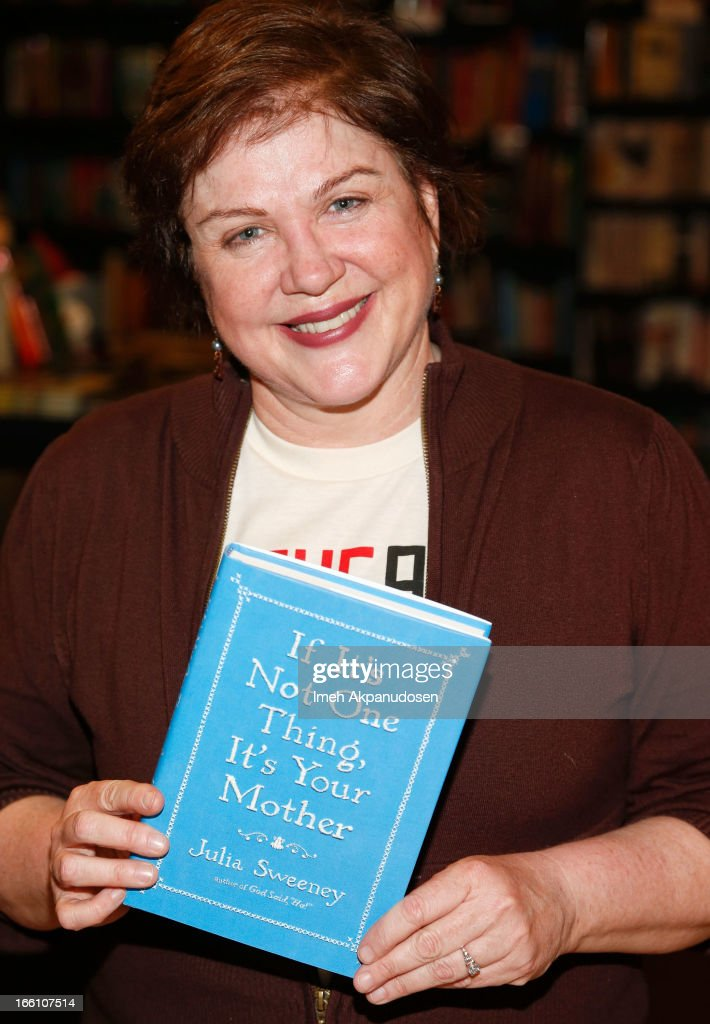 Actress/comedienne <a gi-track='captionPersonalityLinkClicked' href=/galleries/search?phrase=Julia+Sweeney&family=editorial&specificpeople=1534157 ng-click='$event.stopPropagation()'>Julia Sweeney</a> poses before signing copies of her new book 'If It's Not One Thing, It's Your Mother' at Book Soup on April 8, 2013 in West Hollywood, California.