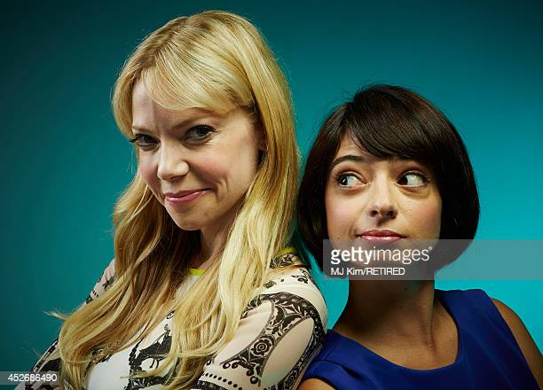 Actress/comediennes Riki Lindhome and Kate Micucci pose for a portrait at the Getty Images Portrait Studio powered by Samsung Galaxy at ComicCon...