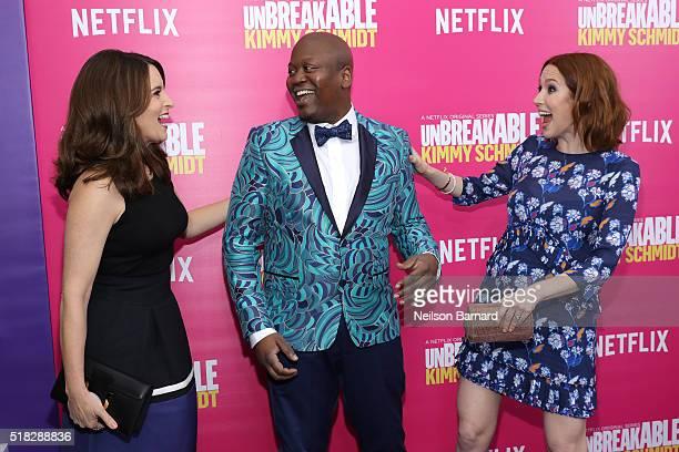 Actress/creator Tina Fey actor Tituss Burgess and actress Ellie Kemper attend the 'Unbreakable Kimmy Schmidt' Season 2 world premiere at SVA Theatre...