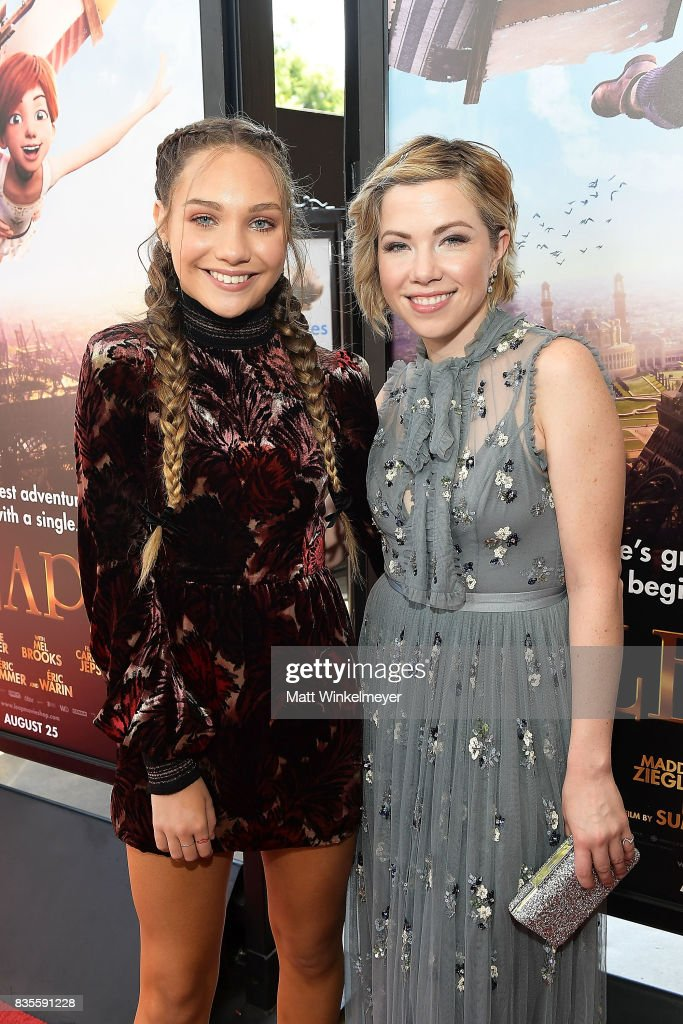Actress/dancer Maddie Ziegler (L) and actress/singer Carly Rae Jepsen attend the Weinstein Company's 'LEAP!' at The Grove on August 19, 2017 in Los Angeles, California.