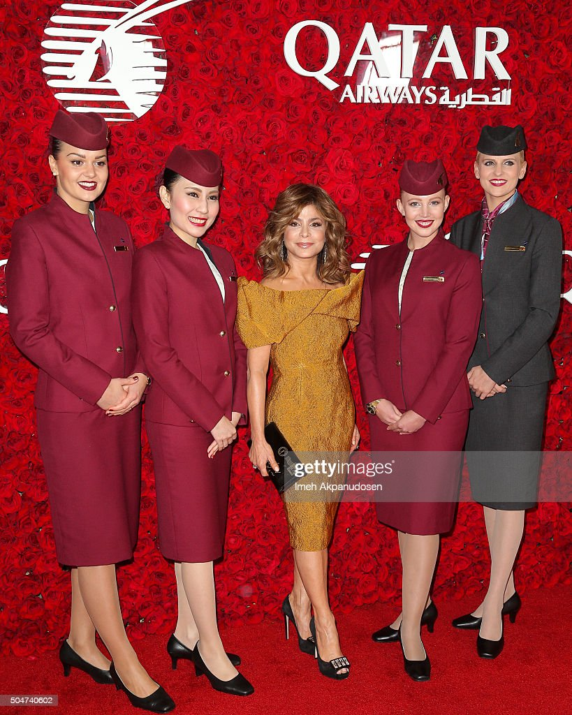 Actress/dancer Paula Abdul (C) attends the Qatar Airways Los Angeles Gala at Dolby Theatre on January 12, 2016 in Hollywood, California.