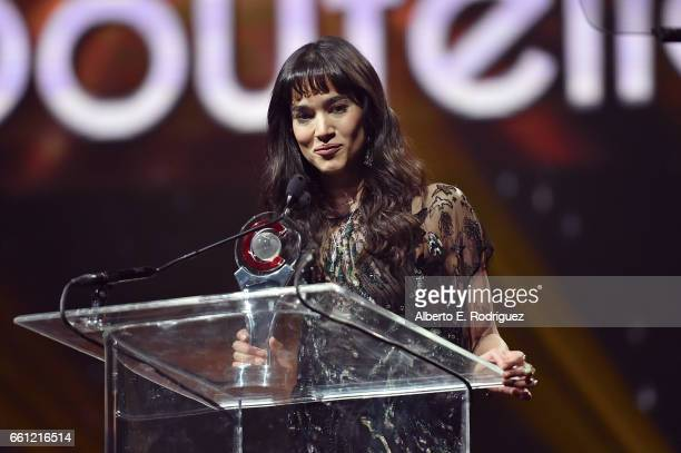 Actress/dancer Sofia Boutella accepts the Female Star of Tomorrow Award onstage during the CinemaCon Big Screen Achievement Awards brought to you by...