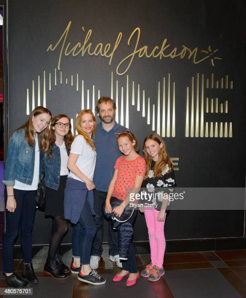 Actress/daughter Maude Apatow actress Leslie Mann writer/producer Judd Apatow and actress/daughter Iris Apatow attend 'Michael Jackson ONE by Cirque...