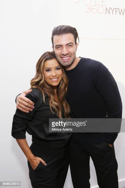 Actress/designer Eva Longoria and singer Jencarlos Canela pose backstage at the Eva Longoria Collection fashion show during New York Fashion Week...