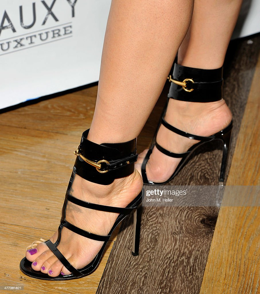 Actress/designer <a gi-track='captionPersonalityLinkClicked' href=/galleries/search?phrase=Mayte+Garcia&family=editorial&specificpeople=797179 ng-click='$event.stopPropagation()'>Mayte Garcia</a> (shoe detail) attends the launch of Shanna Moakler and <a gi-track='captionPersonalityLinkClicked' href=/galleries/search?phrase=Mayte+Garcia&family=editorial&specificpeople=797179 ng-click='$event.stopPropagation()'>Mayte Garcia</a>'s new clothing line Fauxy Fauxture wearing Gucci Heels at Bootsy Bellows on March 8, 2014 in West Hollywood, California.