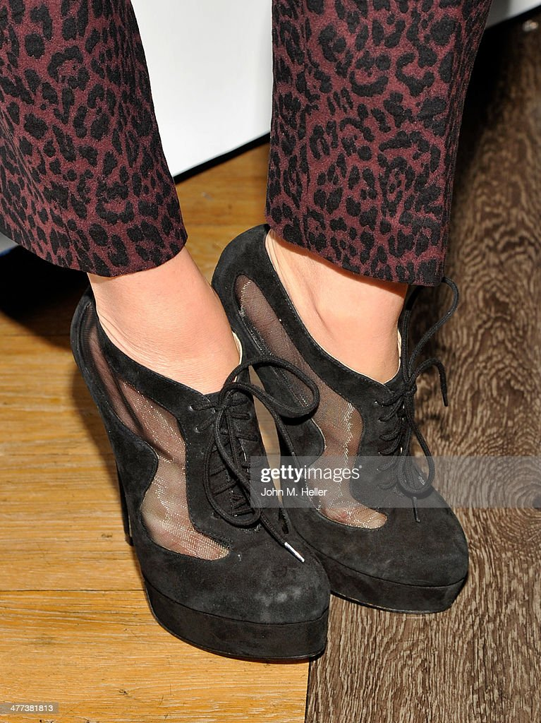 Actress/designer Shana Moakler (shoe detail) attends the launch of <a gi-track='captionPersonalityLinkClicked' href=/galleries/search?phrase=Shanna+Moakler&family=editorial&specificpeople=243047 ng-click='$event.stopPropagation()'>Shanna Moakler</a> and Mayte Garcia's new clothing line Fauxy Fauxture at Bootsy Bellows on March 8, 2014 in West Hollywood, California.
