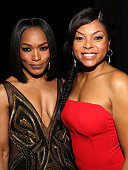 Actress/director Angela Bassett and actress Taraji P Henson attend the 46th NAACP Image Awards presented by TV One at Pasadena Civic Auditorium on...