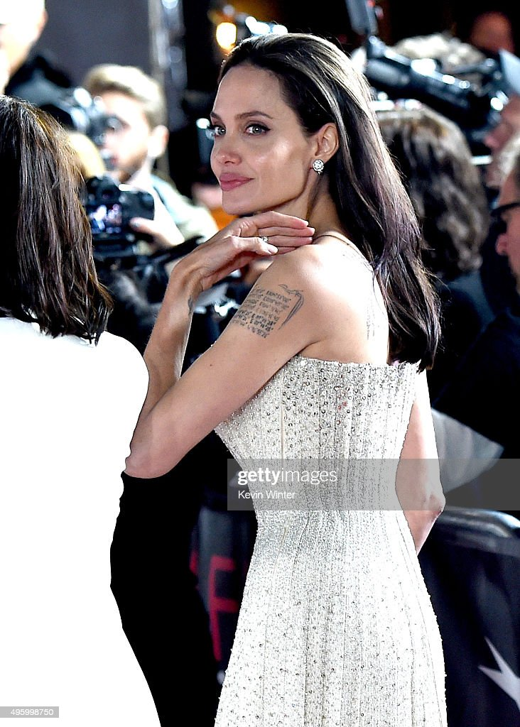 Actress/director <a gi-track='captionPersonalityLinkClicked' href=/galleries/search?phrase=Angelina+Jolie&family=editorial&specificpeople=201591 ng-click='$event.stopPropagation()'>Angelina Jolie</a> Pitt arrives at the AFI FEST 2015 presented by Audi opening night gala premiere of Universal Pictures' 'By The Sea' at the Chinese Theatre on November 5, 2015 in Los Angeles, California.