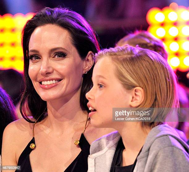 Actress/director Angelina Jolie with Shiloh Nouvel JoliePitt in the audience during Nickelodeon's 28th Annual Kids' Choice Awards held at The Forum...