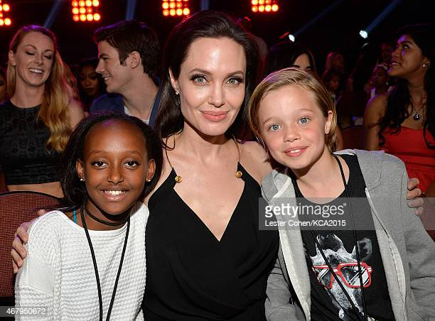 Actress/director Angelina Jolie with Zahara Marley JoliePitt and Shiloh Nouvel JoliePitt in the audience during Nickelodeon's 28th Annual Kids'...