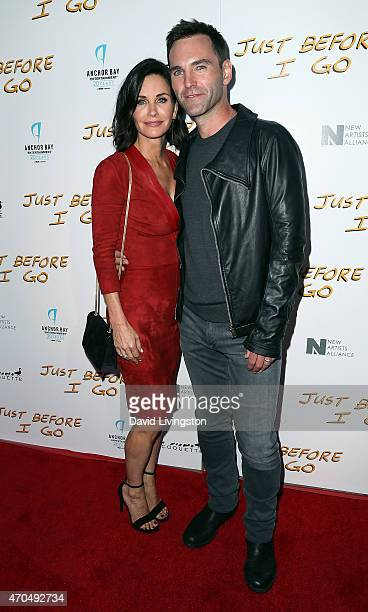 Actress/director Courteney Cox and songwritwer Johnny McDaid attend a screening of Anchor Bay Entertainment's 'Just Before I Go' at ArcLight...