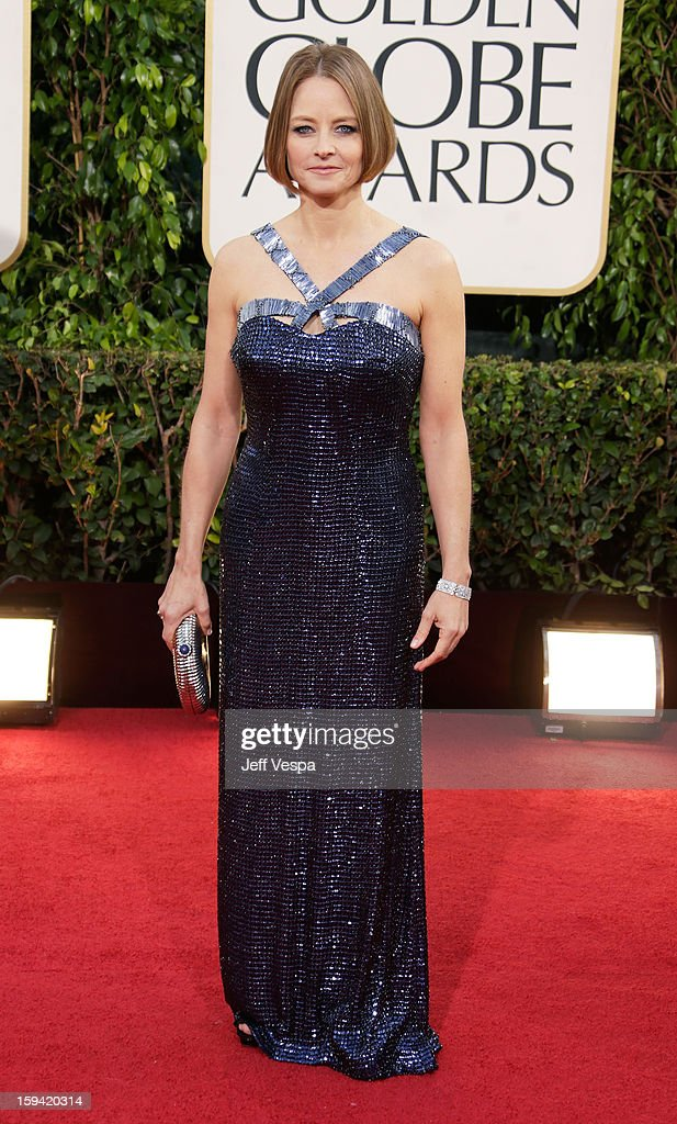 Actress-director <a gi-track='captionPersonalityLinkClicked' href=/galleries/search?phrase=Jodie+Foster&family=editorial&specificpeople=204488 ng-click='$event.stopPropagation()'>Jodie Foster</a> arrives at the 70th Annual Golden Globe Awards held at The Beverly Hilton Hotel on January 13, 2013 in Beverly Hills, California.