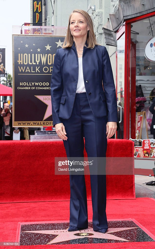 Actress <a gi-track='captionPersonalityLinkClicked' href=/galleries/search?phrase=Jodie+Foster&family=editorial&specificpeople=204488 ng-click='$event.stopPropagation()'>Jodie Foster</a> is honored with a Star on The Hollywood Walk of Fame on May 4, 2016 in Hollywood, California.