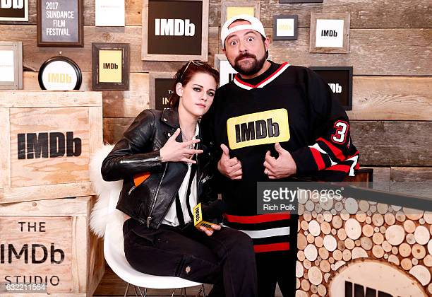 Actress/director Kristen Stewart of 'Come Swim' and Kevin Smith attend The IMDb Studio featuring the Filmmaker Discovery Lounge presented by Amazon...