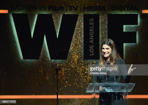 Actress/director Lake Bell speaks onstage at Women In Film 2014 Crystal Lucy Awards presented by MaxMara BMW PerrierJouet and South Coast Plaza held...