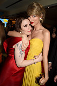Actress/director Lena Dunham and singer/songwriter Taylor Swift attend HBO's Official Golden Globe Awards After Party at The Beverly Hilton Hotel on...