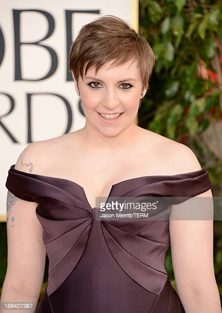 Actress/Director Lena Dunham arrives at the 70th Annual Golden Globe Awards held at The Beverly Hilton Hotel on January 13 2013 in Beverly Hills...