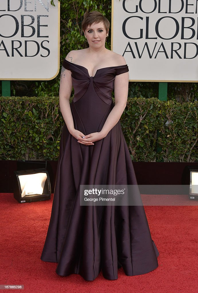 Actressdirector Lena Dunham arrives at the 70th Annual Golden Globe Awards held at The Beverly Hilton Hotel on January 13 2013 in Beverly Hills...