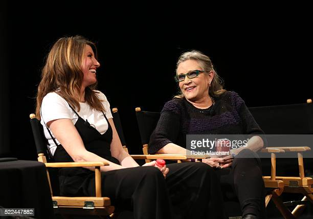 Actress/director Sharon Horgan and talent Carrie Fisher speak on stage at Tribeca Tune In Catastrophe at SVA Theatre 2 on April 19 2016 in New York...