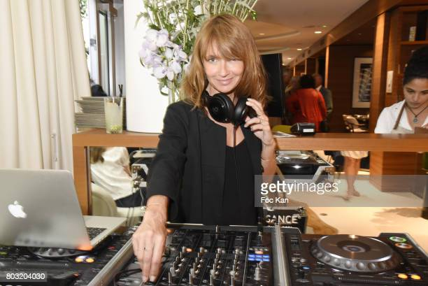 Actress/DJ Axelle Laffont performs during the Dimensions Lee Michel Exhibition Preview at Hotel Rennaissance on June 28 2017 in Paris France