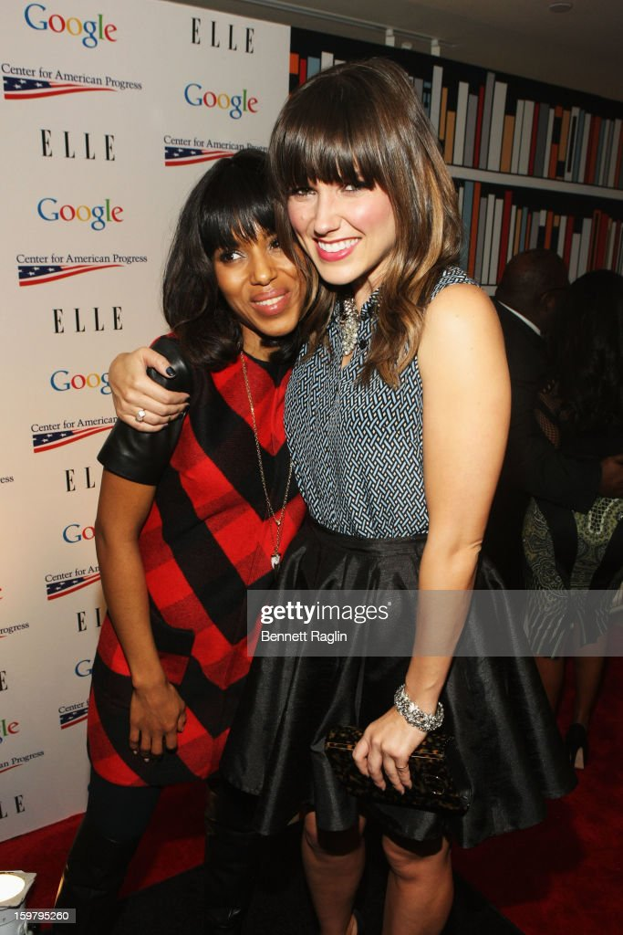 Actresse Kerry Washington and Sophia Bush attend a celebration of Leading Women in Washington hosted by GOOGLE, ELLE, and The Center For American Progress on January 20, 2013 in Washington, United States.