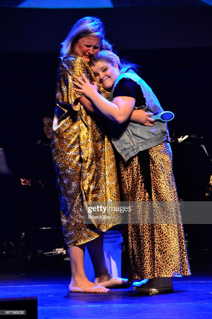 Actressees Bridget Everett and Ryann Redmond perform during the 24 Hour Musicals 2013 at the Gramercy Theatre on April 29, 2013 in New York City.