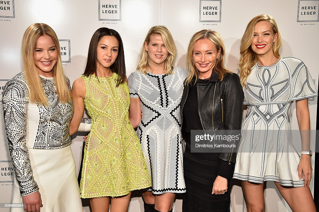 Actresses <a gi-track='captionPersonalityLinkClicked' href=/galleries/search?phrase=Abbie+Cornish&family=editorial&specificpeople=213603 ng-click='$event.stopPropagation()'>Abbie Cornish</a> and <a gi-track='captionPersonalityLinkClicked' href=/galleries/search?phrase=Annet+Mahendru&family=editorial&specificpeople=7013540 ng-click='$event.stopPropagation()'>Annet Mahendru</a> model <a gi-track='captionPersonalityLinkClicked' href=/galleries/search?phrase=Alexandra+Richards&family=editorial&specificpeople=213455 ng-click='$event.stopPropagation()'>Alexandra Richards</a> designer <a gi-track='captionPersonalityLinkClicked' href=/galleries/search?phrase=Lubov+Azria&family=editorial&specificpeople=2281952 ng-click='$event.stopPropagation()'>Lubov Azria</a> and model <a gi-track='captionPersonalityLinkClicked' href=/galleries/search?phrase=Petra+Nemcova&family=editorial&specificpeople=201716 ng-click='$event.stopPropagation()'>Petra Nemcova</a> pose backstage at the Herve Leger By Max Azria Fall 2016 fashion show during New York Fashion Week: The Shows at The Arc, Skylight at Moynihan Station on February 13, 2016 in New York City.