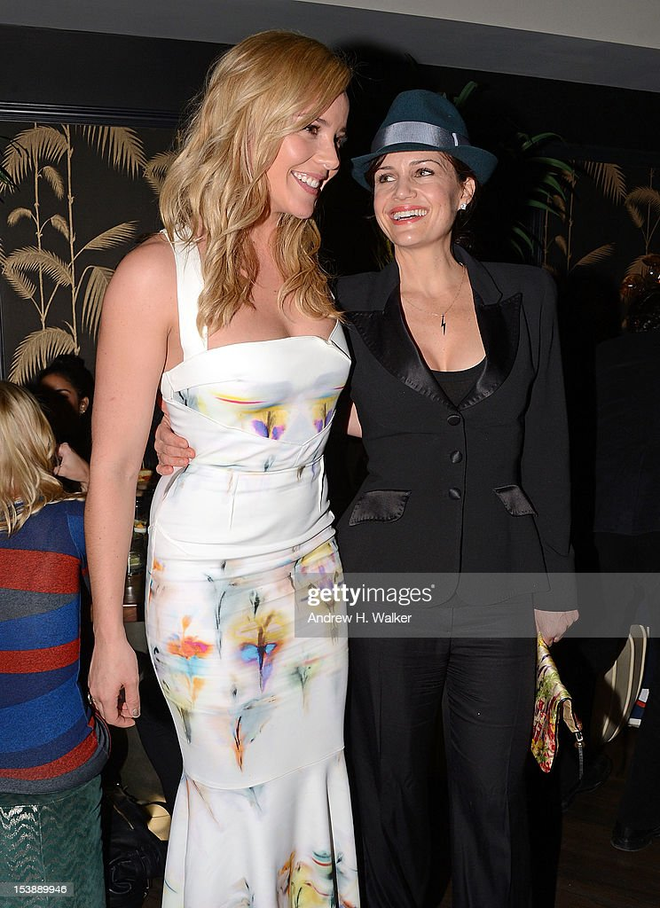 Actresses Abbie Cornish and Carla Gugino attend The Cinema Society and CBS Films screening of 'Seven Psychopaths' After Party at No. 8 on October 10, 2012 in New York City.