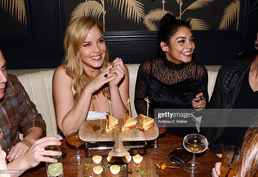 Actresses Abbie Cornish and Vanessa Hudgens attend The Cinema Society and CBS Films screening of 'Seven Psychopaths' After Party at No. 8 on October 10, 2012 in New York City.