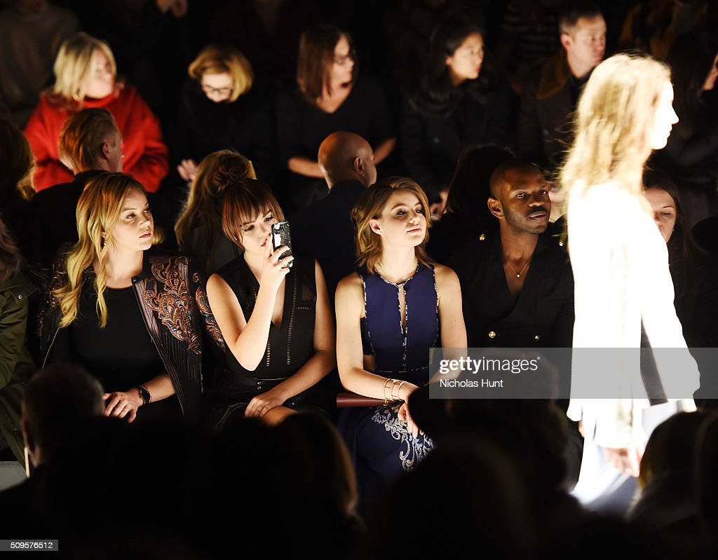 Actresses Abbie Cornish, Bailee Madison and Sami Gayle attend the front row at the BCBGMAXAZRIA Fall 2016 show during New York Fashion Week at The Arc, Skylight at Moynihan Station on February 11, 2016 in New York City.